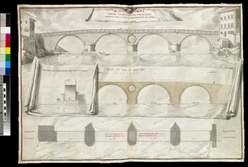 Rendering of a 'Disegno geometrico del Ponte Sisto veduto dalla parte, che guarda il Palatino' (WA1925.342.3)