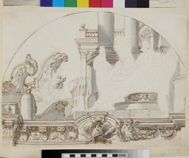 Sketch of the architectural elements and part of the frame of a semicircular wall painting (recto)