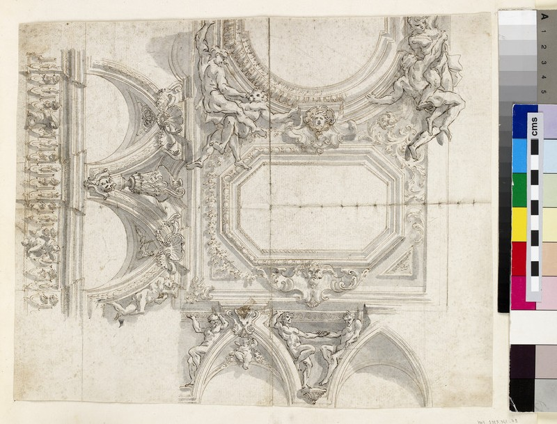 Sketch of the wall cornice, cove and ceiling panels of a monumental room (WA1925.342.32)