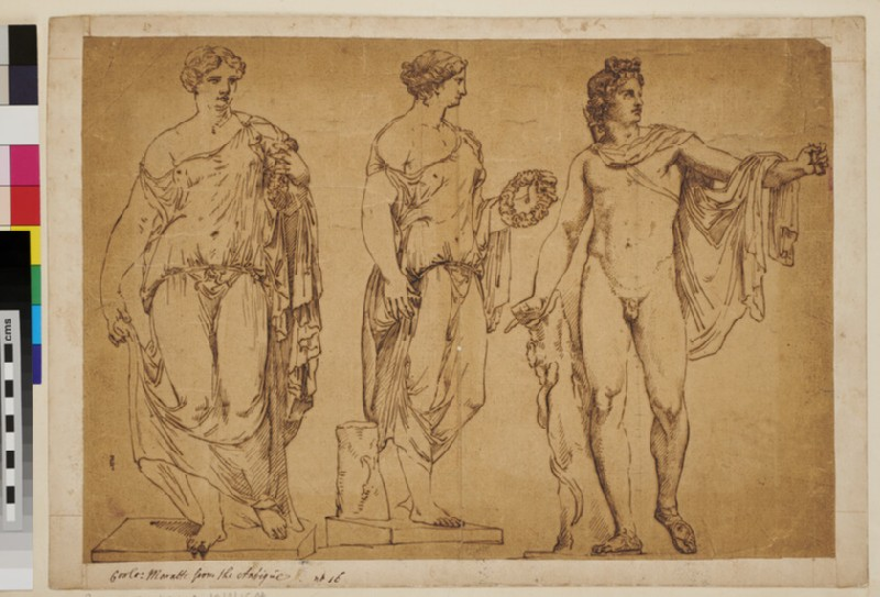 Three studies after antique statues, including the Apollo del Belvedere (WA1925.342.39, verso)