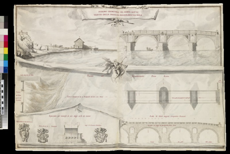 Rendering of a 'Disegno geometrico del Ponte Rotto veduto dalla parte di S. Bartolomeo All'Isola'