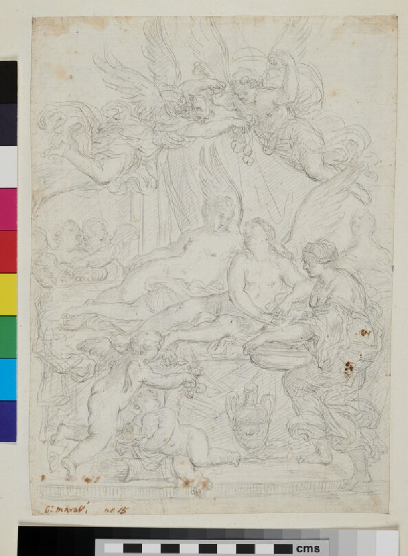 Recto: sketch of Cupid and Psyche  Verso: sketch of Moses turning the staff into snakes