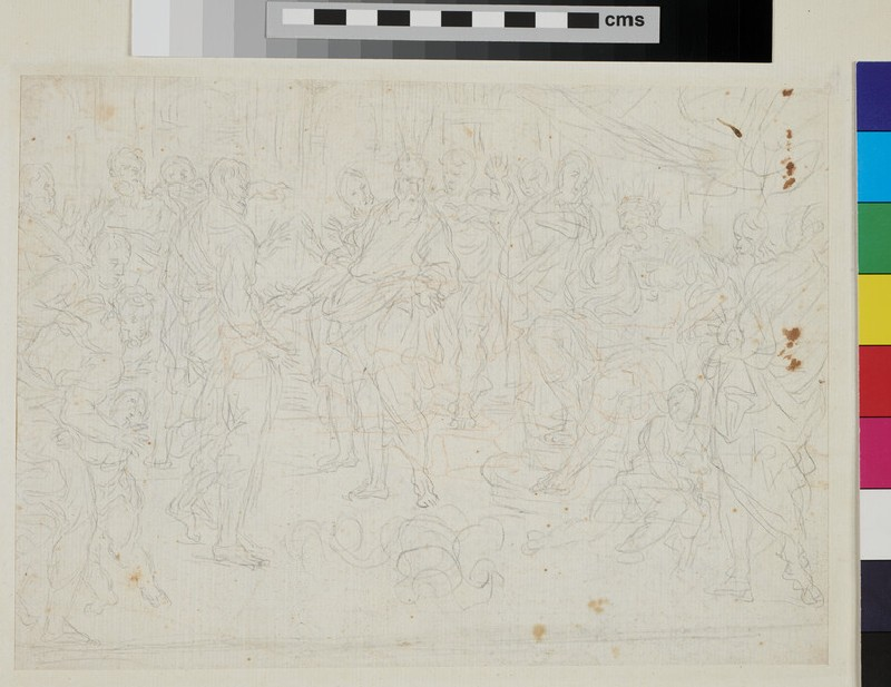 Recto: sketch of Cupid and Psyche <br />Verso: sketch of Moses turning the staff into snakes (WA1925.342.54, recto)