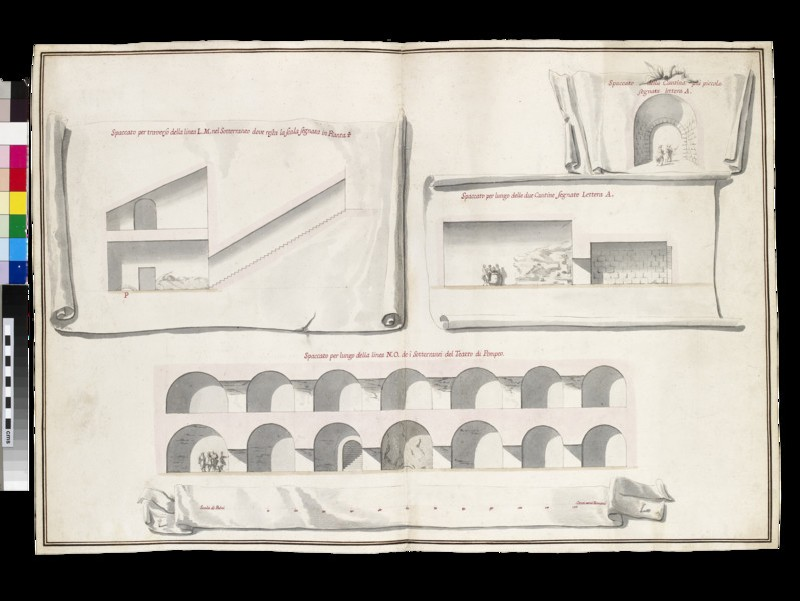 Rendering of four sections of the 'Sotterranei del Teatro di Pompeo'