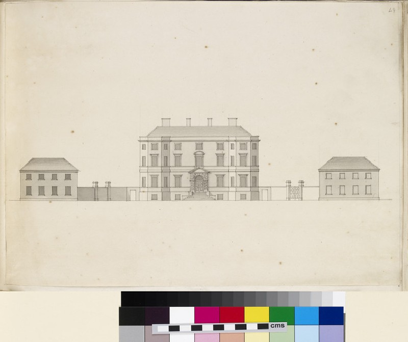 Design of the façade of a country house and its dependencies (WA1925.342.64)