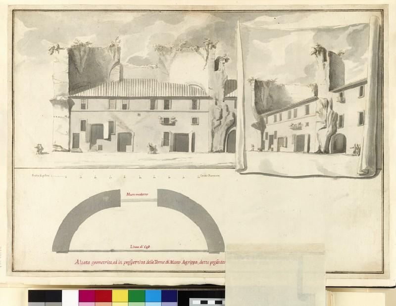 Rendering of a 'Alzata geometrica, ed in prospettiva delle Terme di Marco Agrippa, dette presentemente l'Arco della Ciambella' (WA1925.342.7)