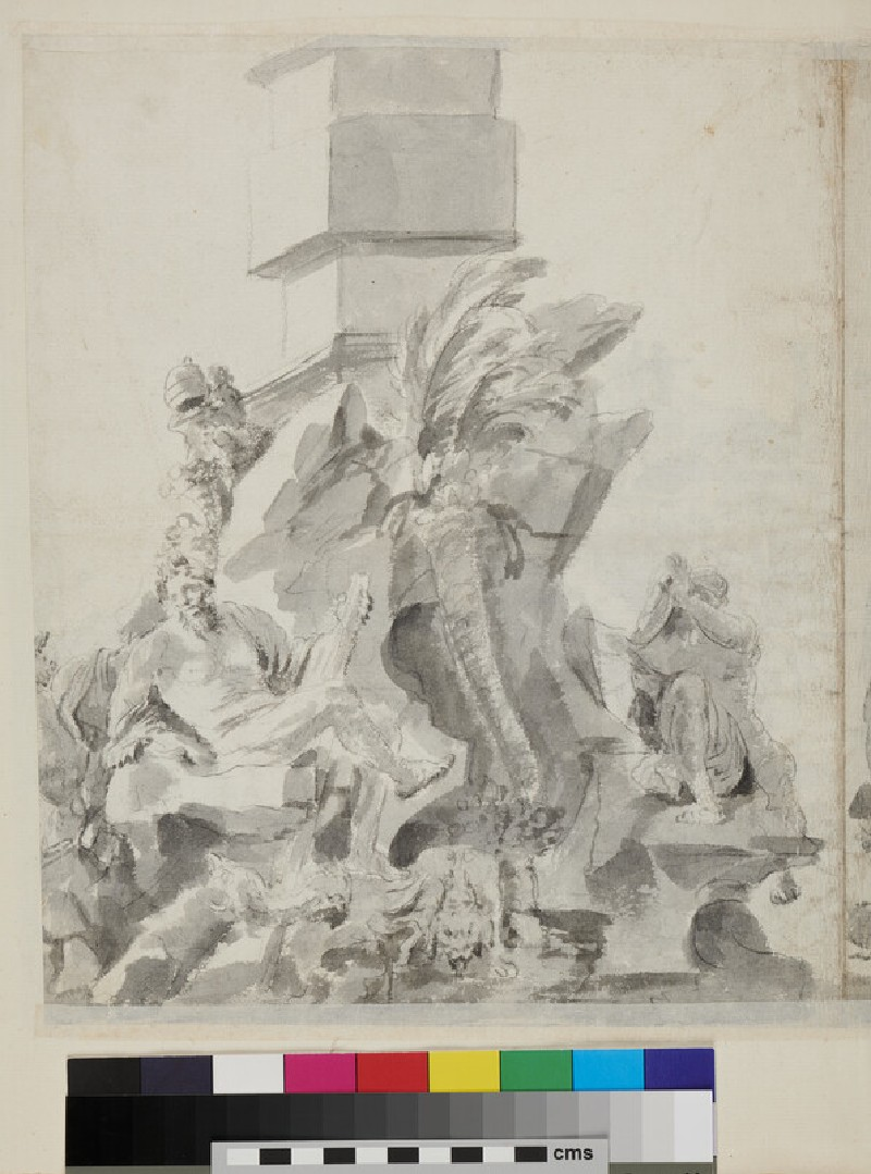 Recto: watercolour drawing of the Ponte Rotto <br />Verso: watercolour drawing of the Bernini's fountain in Piazza Navona, Rome