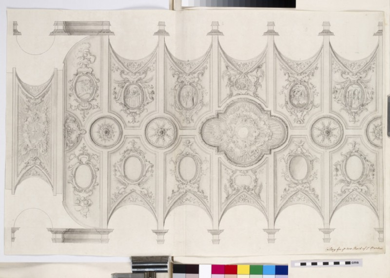 Design of the upright and plan of a smaller chandelier