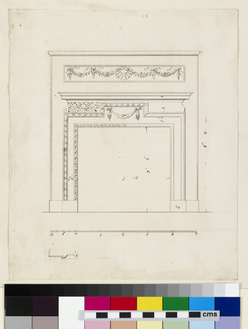 Drawing of the upright of a chimneypiece