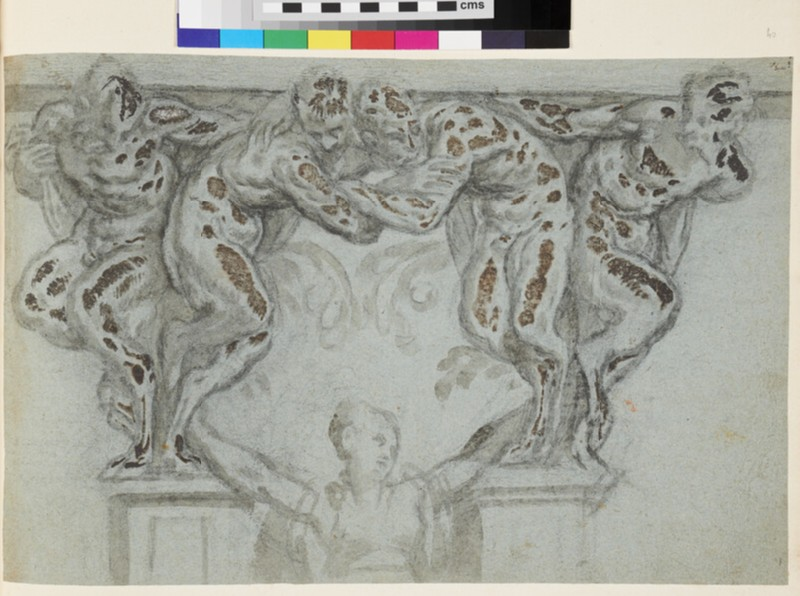 Design for a wall fountain with four satyrs with a woman below (recto)
