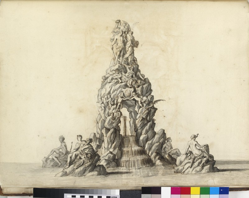 Design for an ornamental fountain, with figures of the four continents, Prudence, Hercules and Fame, and two putti supporting the royal arms (WA1925.344.41)