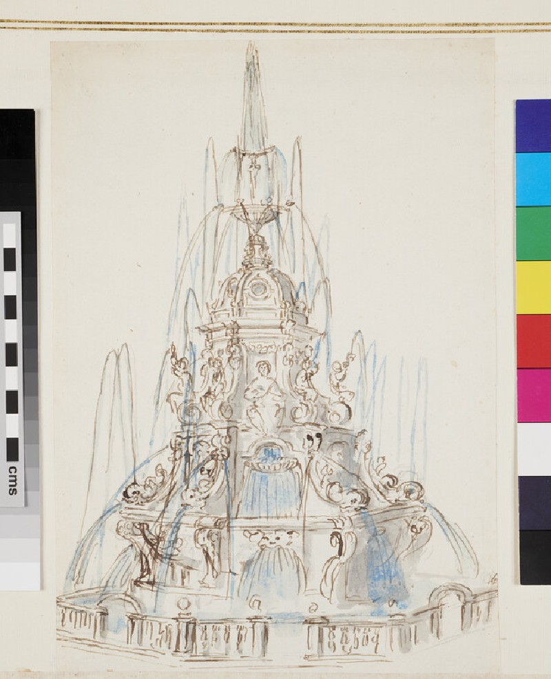 Design for an ornamental fountain, with figures and a grotesque mask (verso)