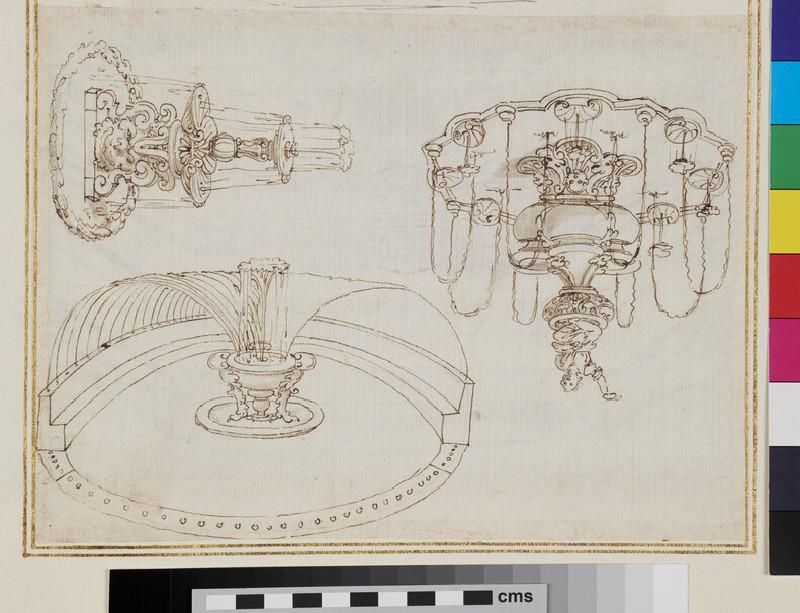 Three designs after fountains at the Villa Medici at Pratolino