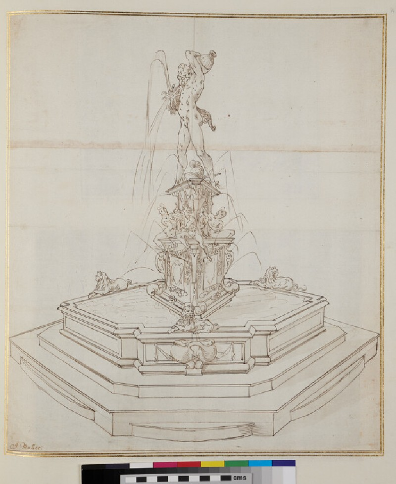 Design for an ornamental fountain with a male statue on the top (verso)