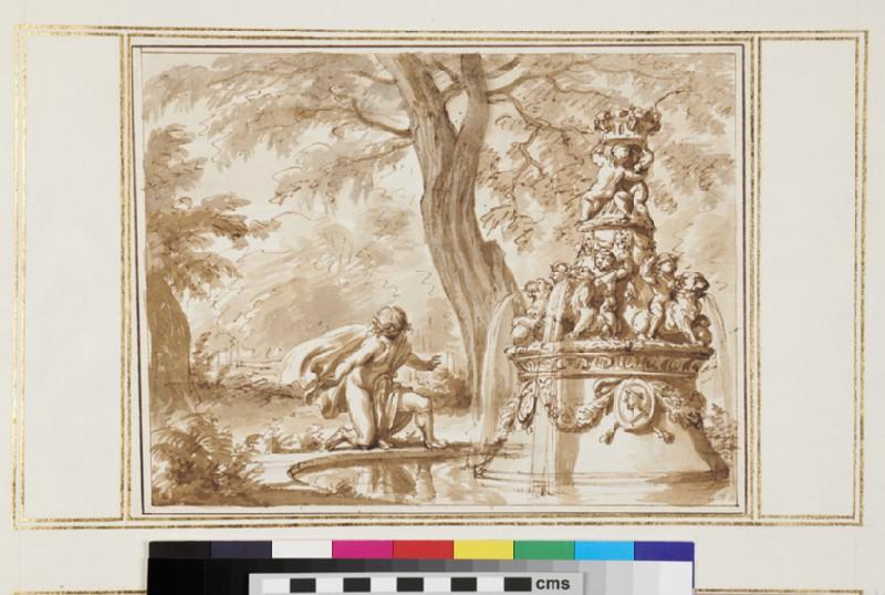 Ornamental fountain in a landscape (WA1925.344.45, recto)