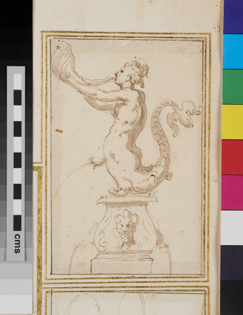 Design for an ornamental fountain with a triton blowing a horn (WA1925.344.49, recto)