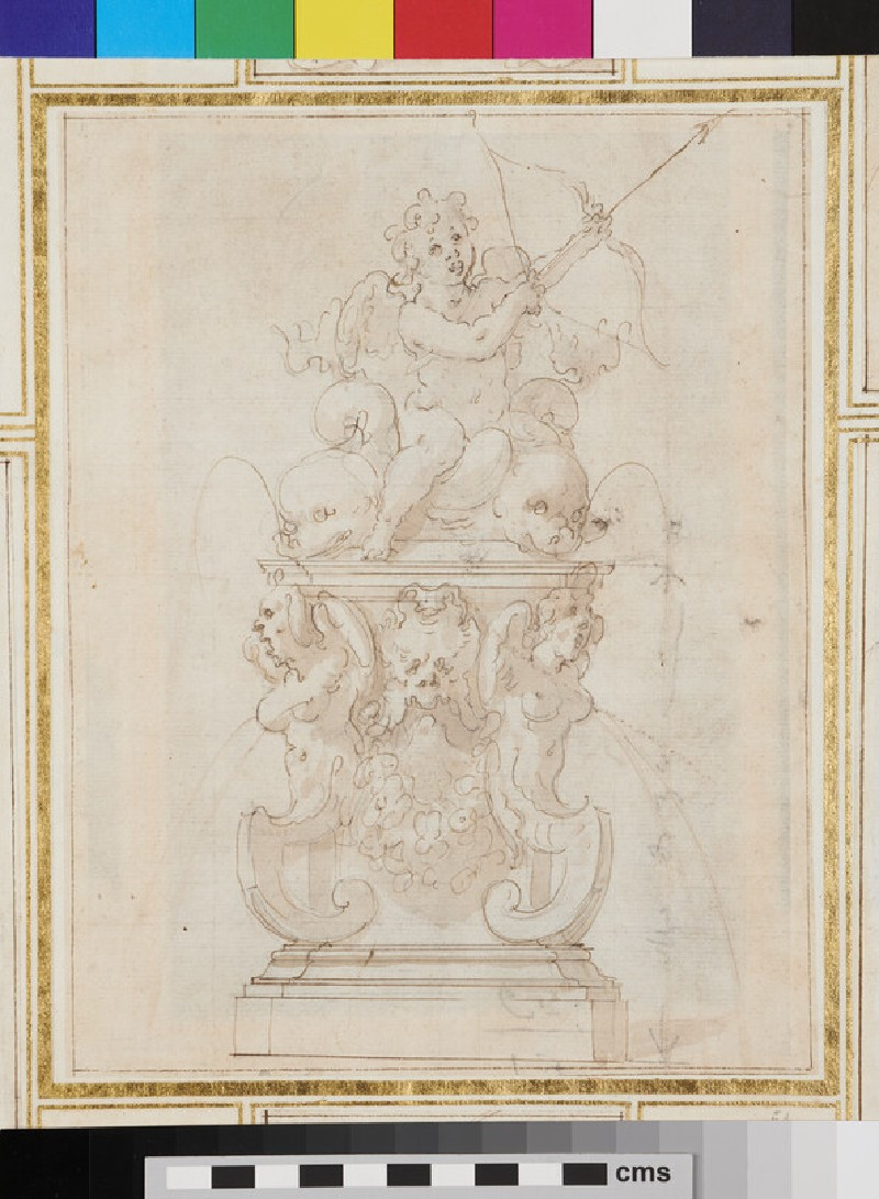 Design for an ornamental fountain with Cupid seated on marine creatures and drawing the bow (recto)