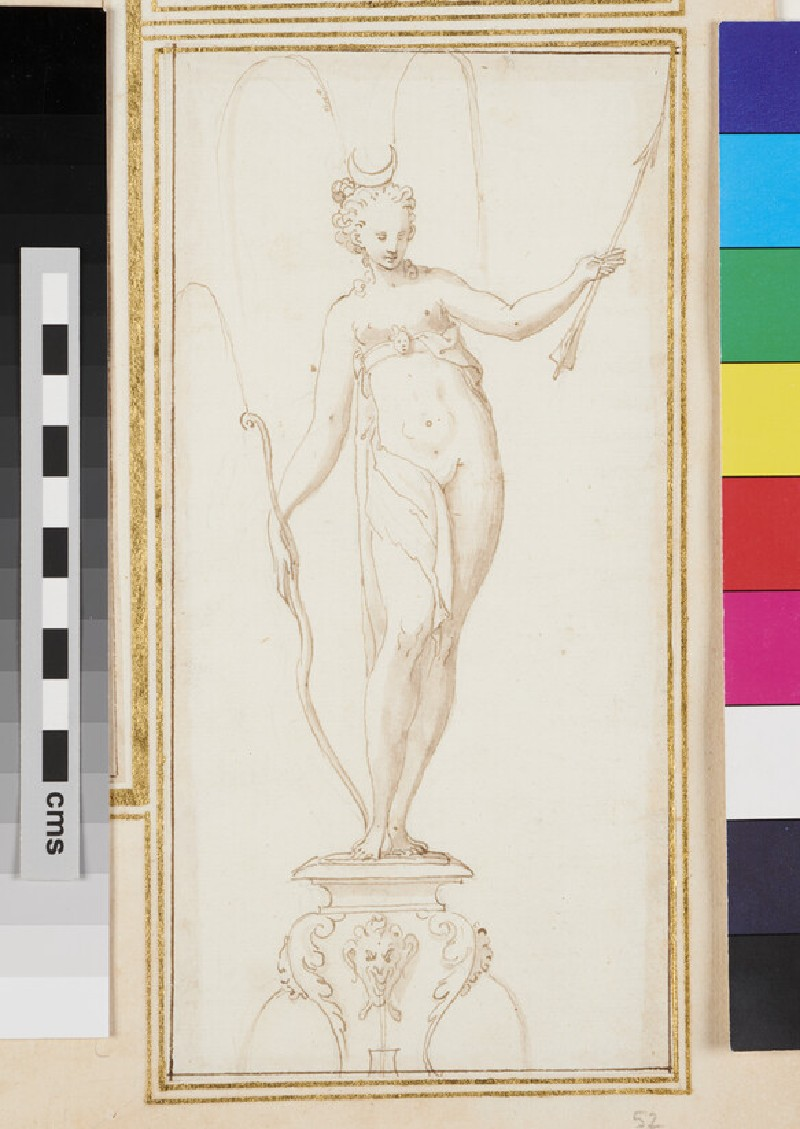 Design for an ornamental fountain with Artemis holding a bow in her right hand and an arrow in the left hand