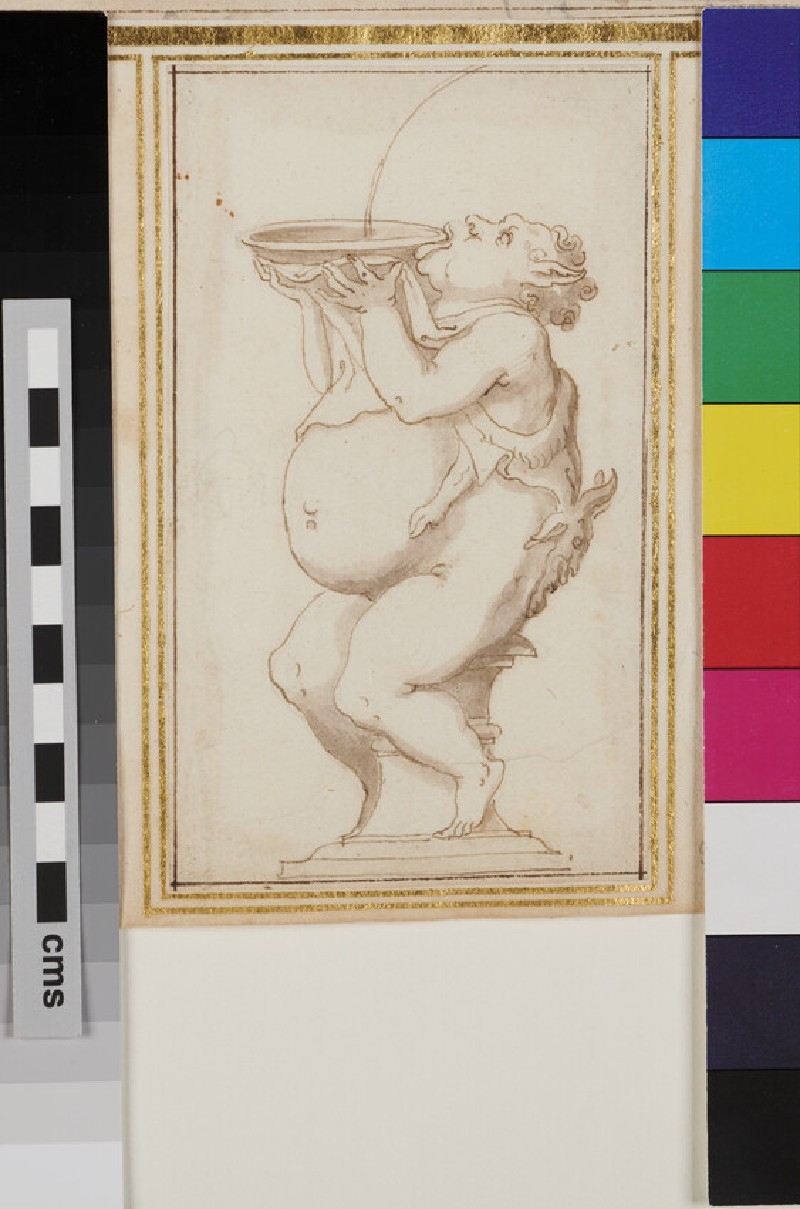 Design for an ornamental fountain with a fat faun holding and drinking from a bowl (WA1925.344.53, recto)