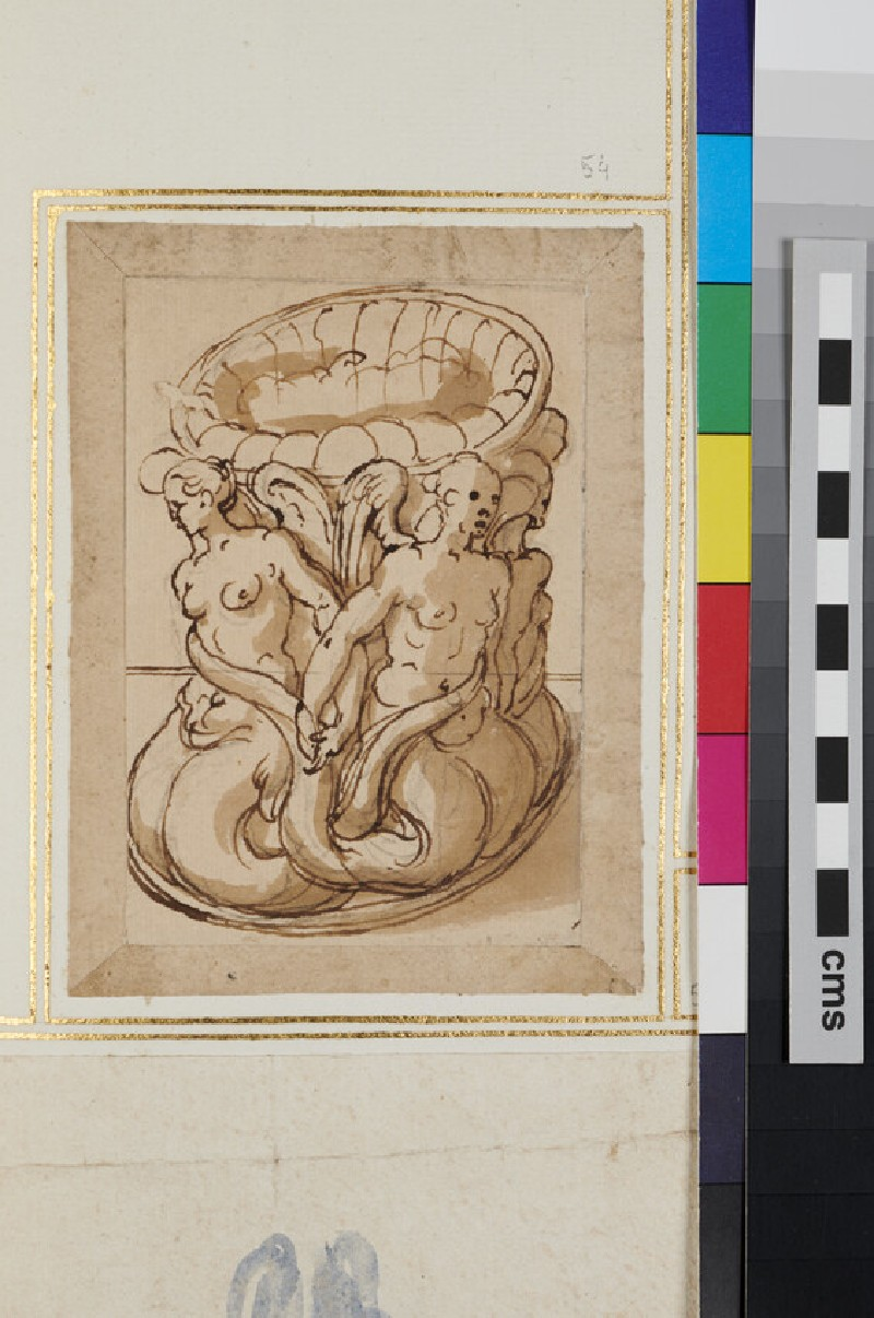Design for statue with mermaids