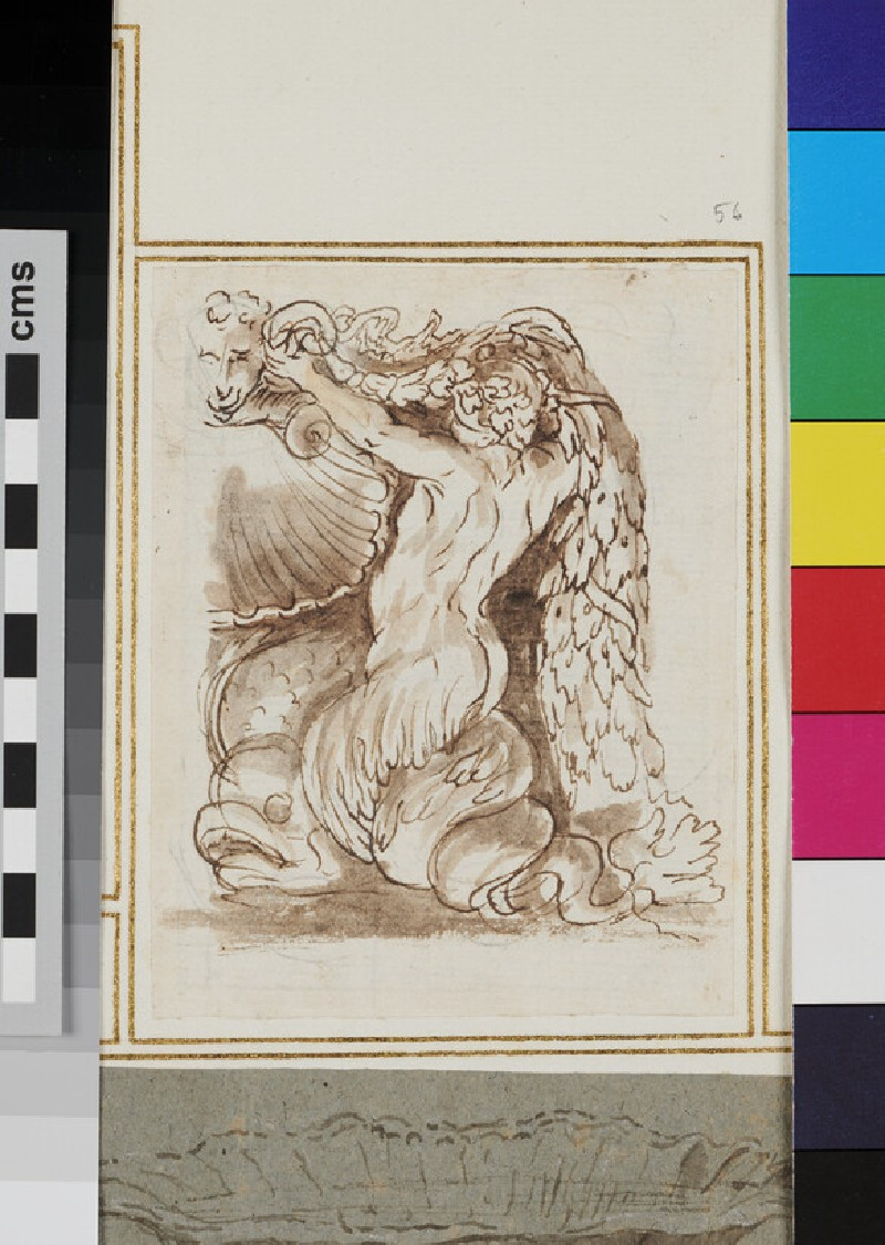 Recto: Design for a statue of a triton supporting a festoon and a marine creature  Verso: sketched lines