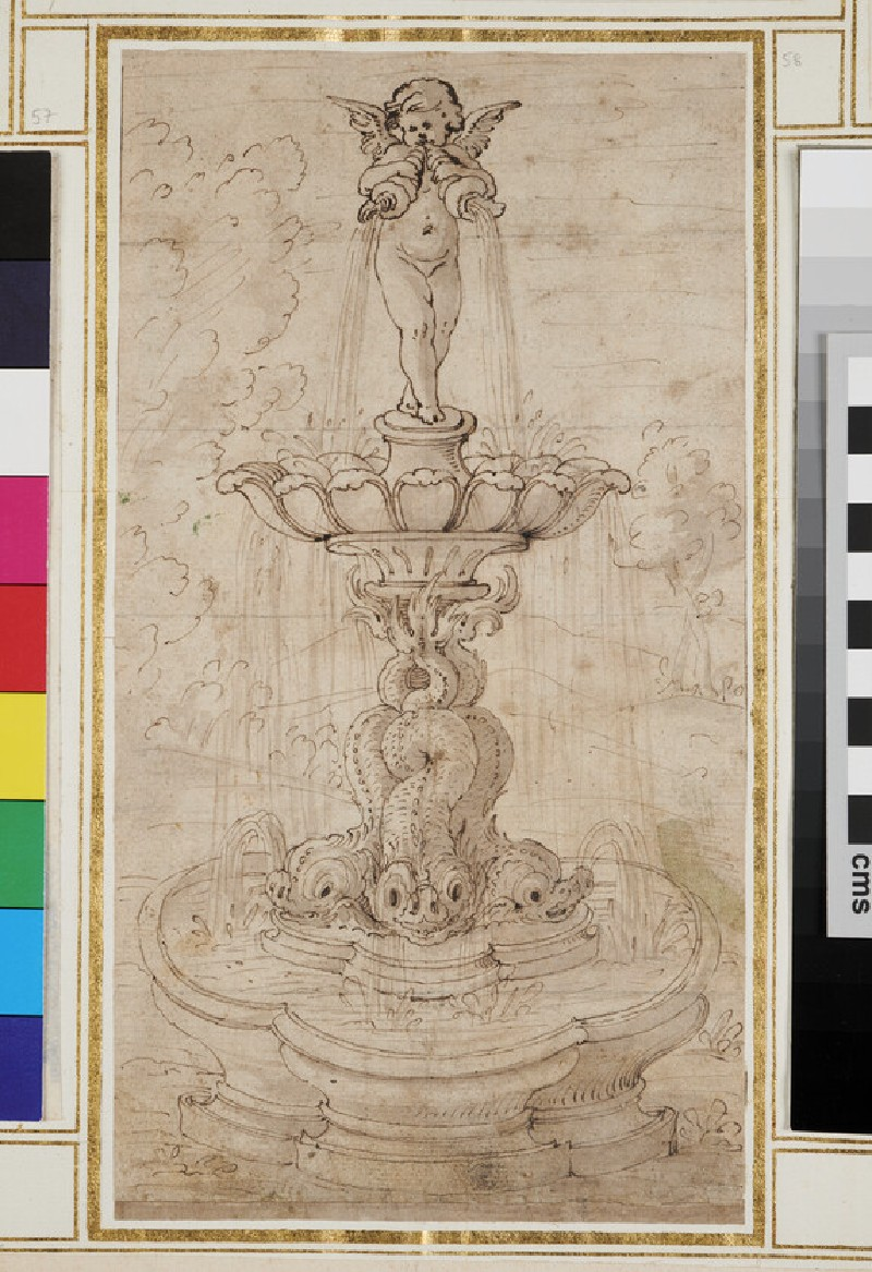 Design for an ornamental fountain with a putto standing on an open shell
