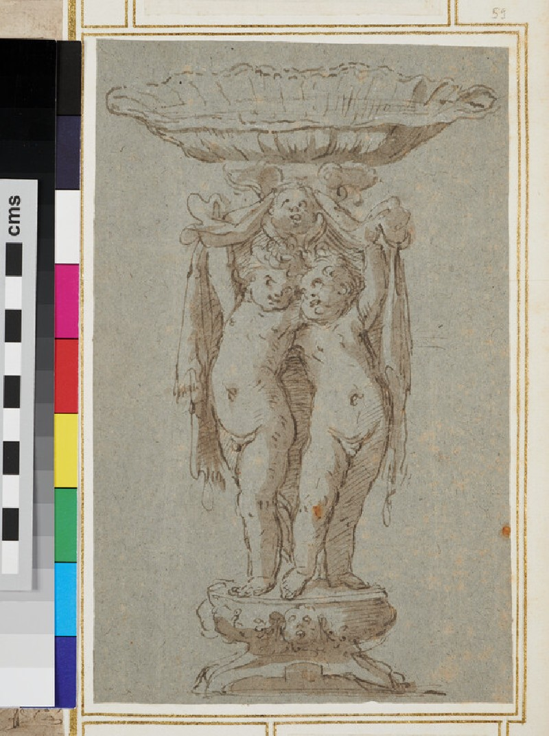 Design for a statue with two putti supporting a big shell