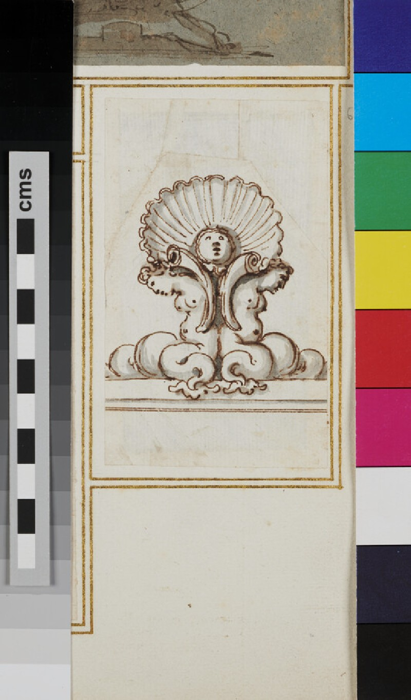 Design for an ornament with two marine deities