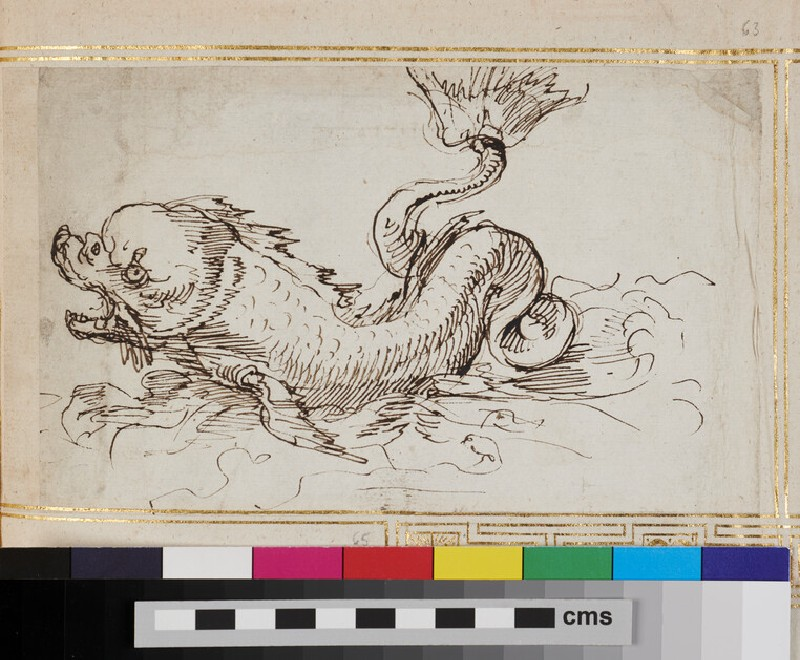 Sketch for an ornament with a marine creature (WA1925.344.63, verso)