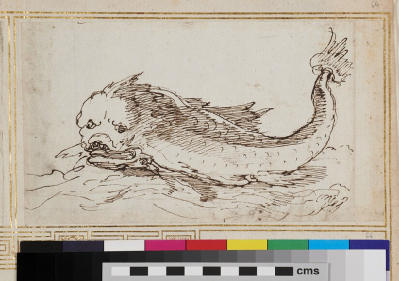 Sketch for an ornament with a marine creature (WA1925.344.64, verso)
