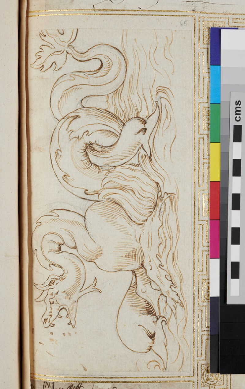 Recto: sketch for an ornament with a marine dragon <br />Verso: plan for a building (verso)