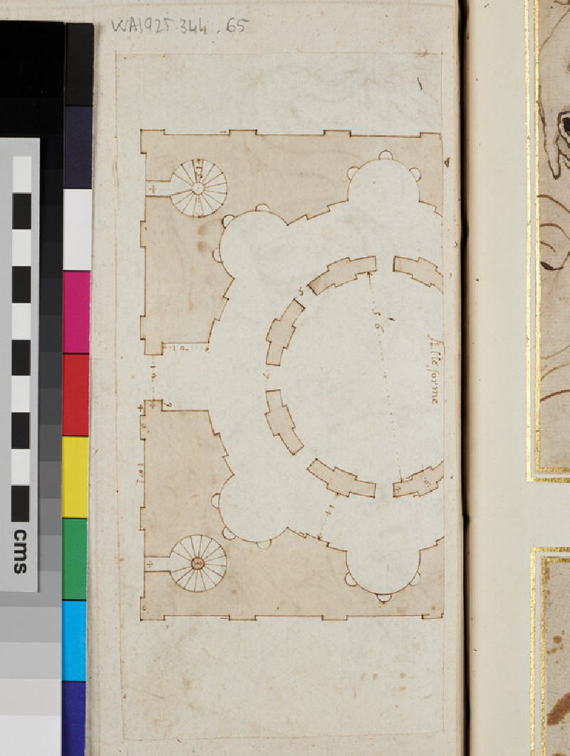 Recto: sketch for an ornament with a marine dragon <br />Verso: plan for a building