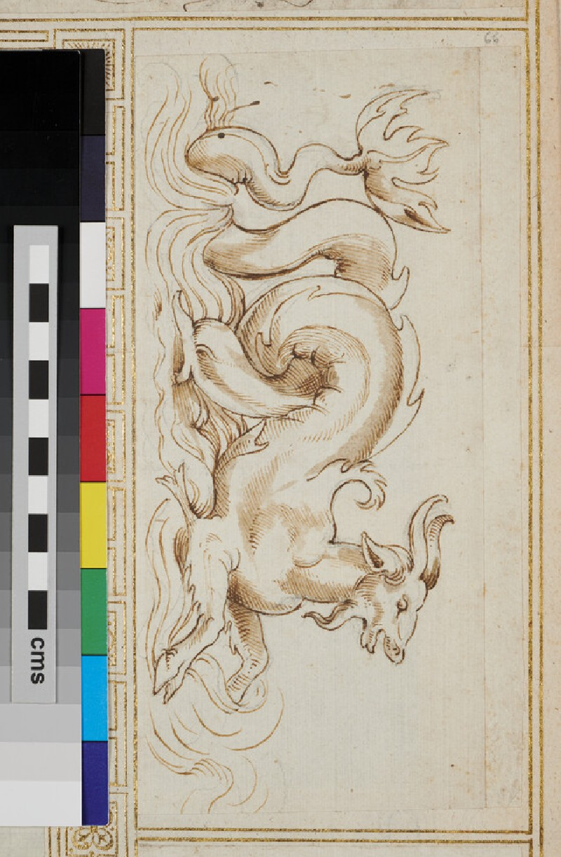 Sketch for an ornament with a marine goat (WA1925.344.66, verso)