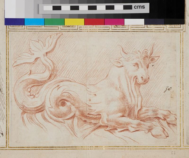 Sketch for a marine bull (WA1925.344.68, recto)