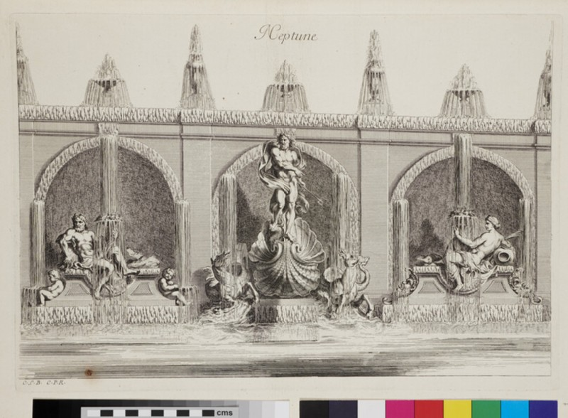 Design for a wall fountain with Neptune, from the series 'Recueil de fontaines et de frises maritimes' (WA1925.344.7, verso)
