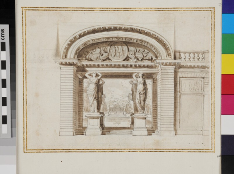 Archway opening onto a View of a Palladian Villa