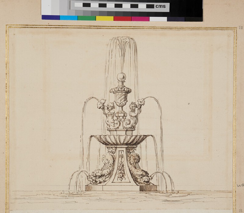 Design for a fountain, with two putti holding a horn and two maritime creatures (WA1925.344.77, verso)
