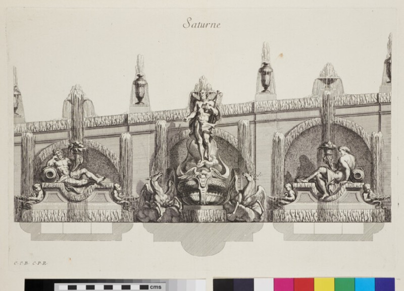 Design for a wall fountain showing Saturn and deities, from the series 'Recueil de fontaines et de frises maritimes' (WA1925.344.8, recto)