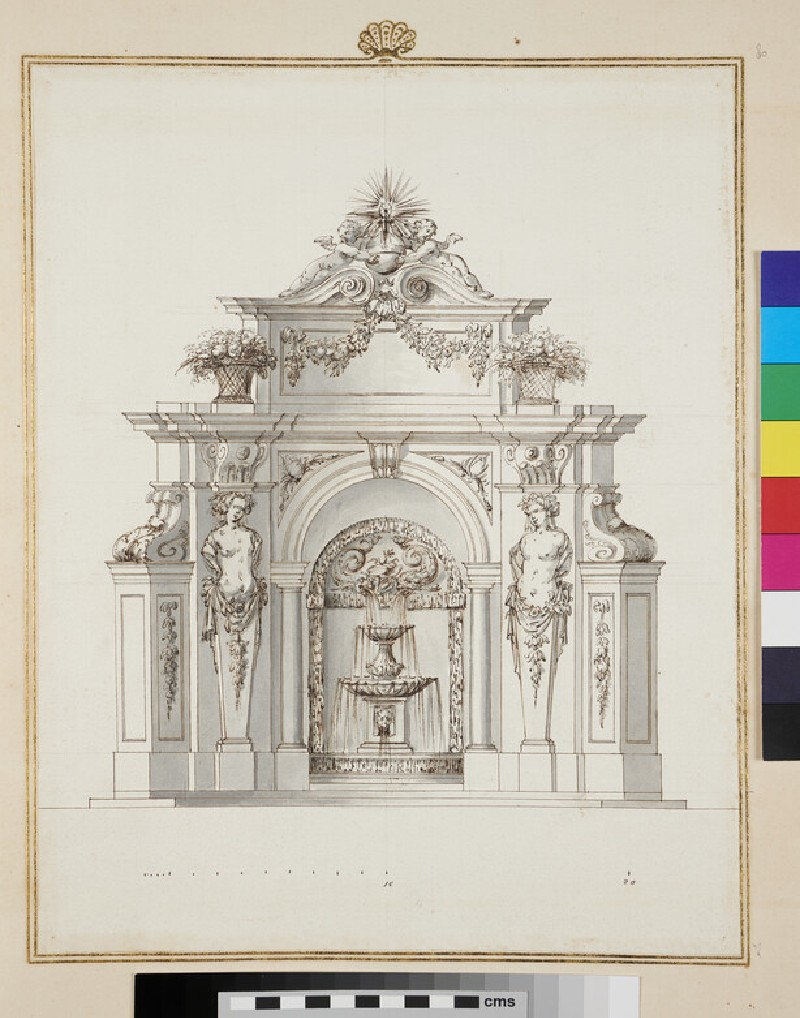 Design for a wall fountain, with two Caryatids and festoons (verso)
