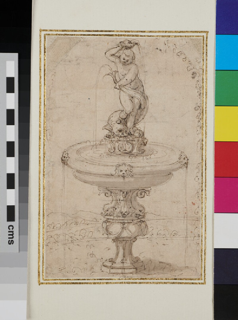 Design for an ornamental fountain showing a marine deity with a fish (WA1925.344.83, verso)