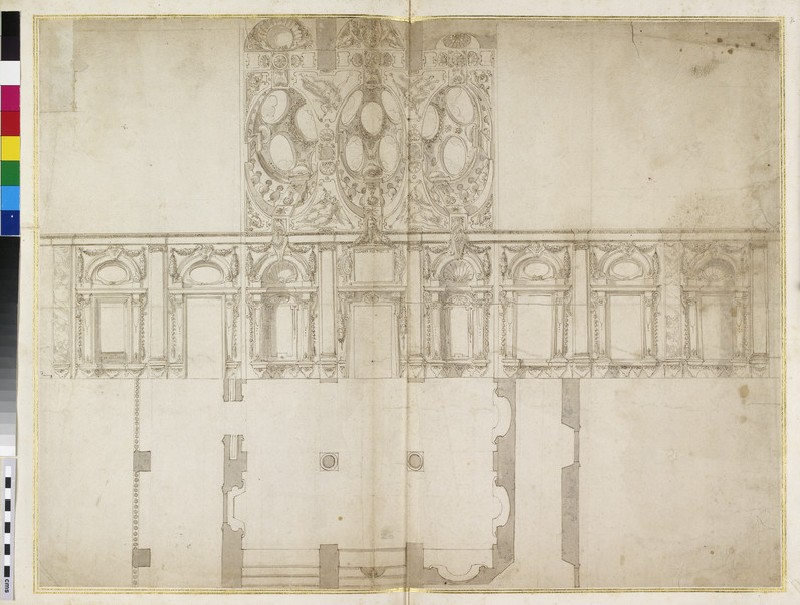 Prospect, ceiling and plan of a Baroque interior