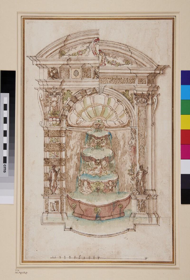 Elevation of fountain possibly for Villa d'Este at Tivoli