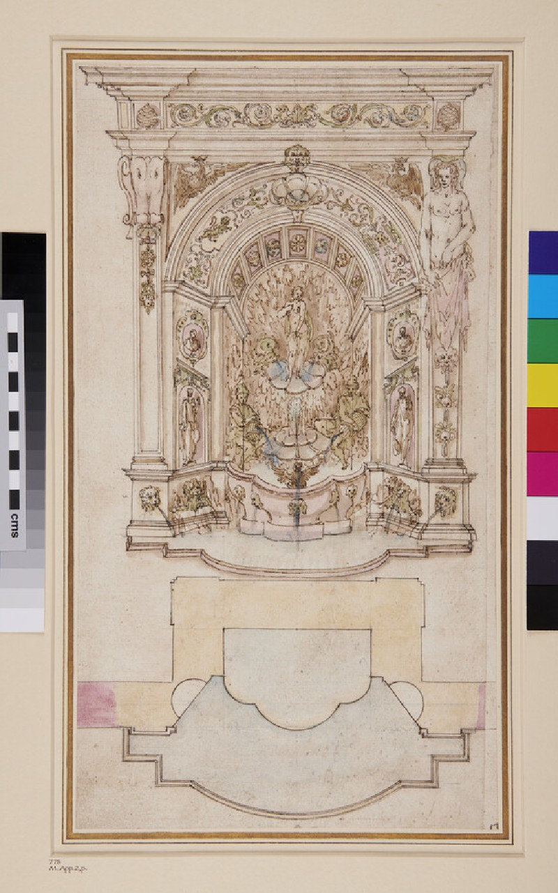 Plan and elevation of fountain possibly for the Villa d'Este at Tivoli