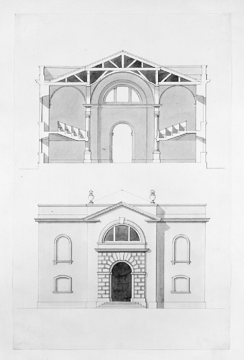Design of the cross section and the upright of the end of an assembly hall