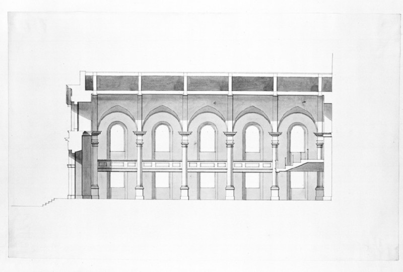 Design of the longitudinal section of an assembly hall (WA1925.343.4)