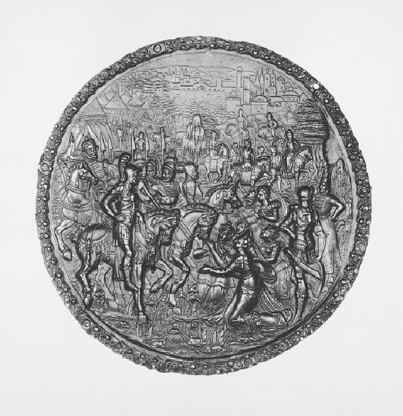 Women kneeling before men on horses, probably Corolanus and the Roman Matrons