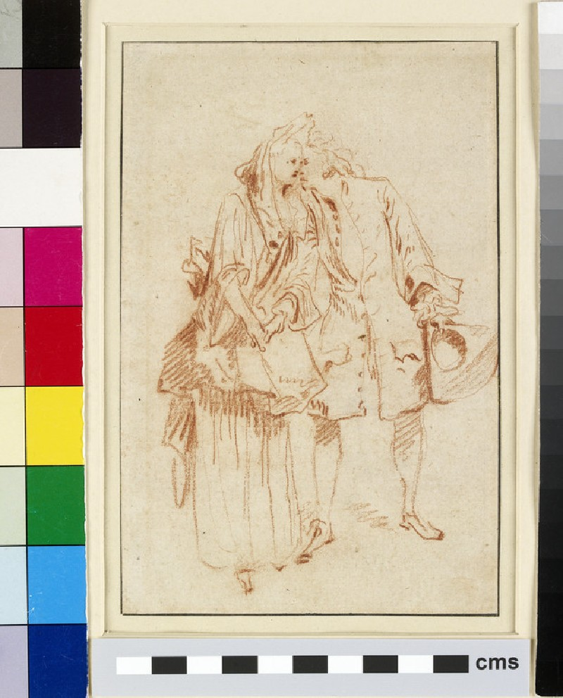 Recto: A man holding a tricorn hat, embracing a woman on the left
