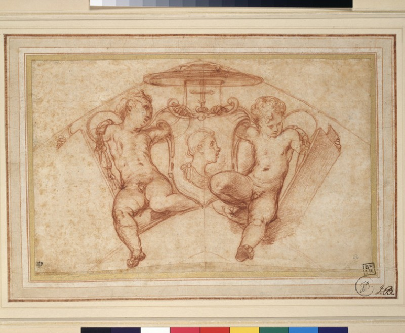 A Coat of Arms supported by Putti