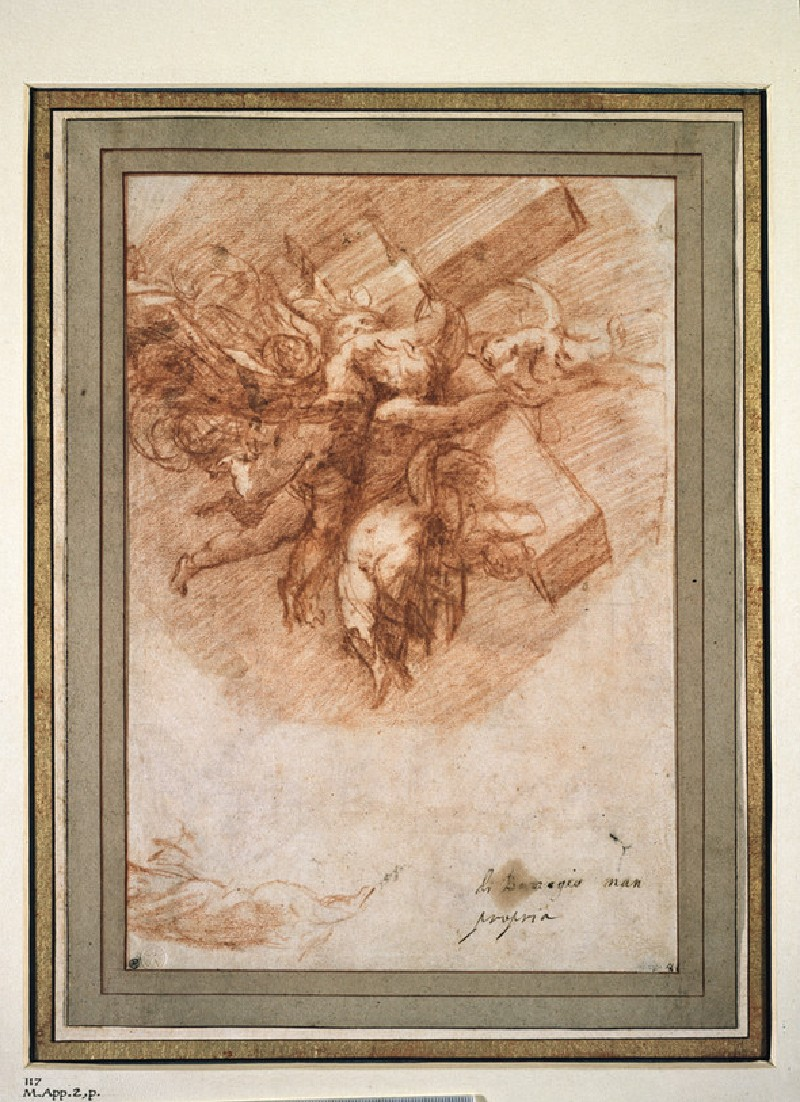 Recto: The Cross borne to Heaven by Angels<br />Verso: designs for a decorative frieze, with amorini bearing garlands