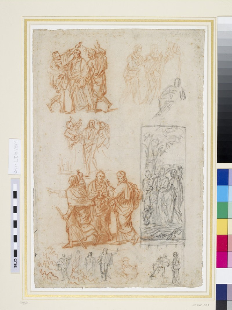 Recto: Studies for a composition of Christ on the road to Emmaus and for Christ and the woman of Samaria<br />Verso: Studies of kneeling and seated figures (WA1937.140)